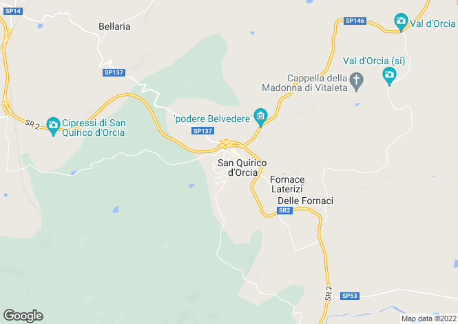 Map for Tuscany, Siena, San Quirico d`Orcia