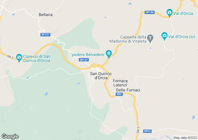 Map for San Quirico d`Orcia, Siena, Tuscany