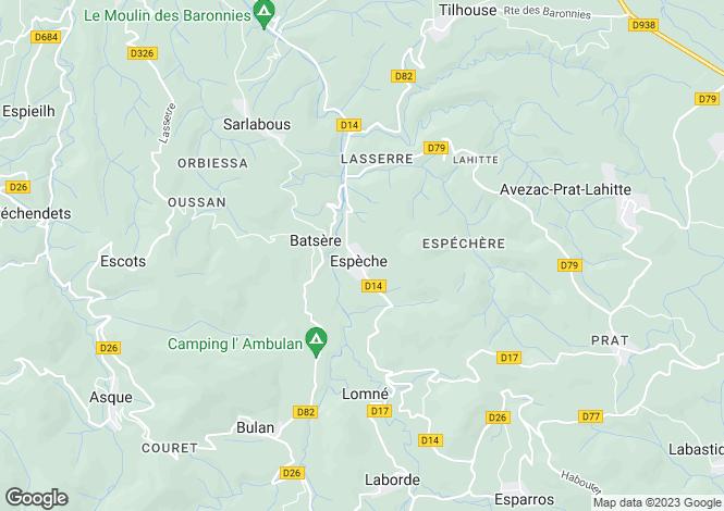Map for Midi-Pyrénées, Hautes-Pyrénées, Espèche