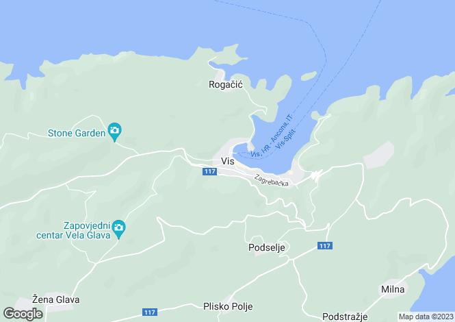 Map for Vis, Split, Croatia