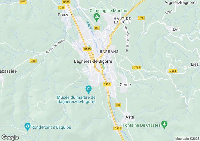 Map for bagneres-de-bigorre, Hautes-Pyrénées, France