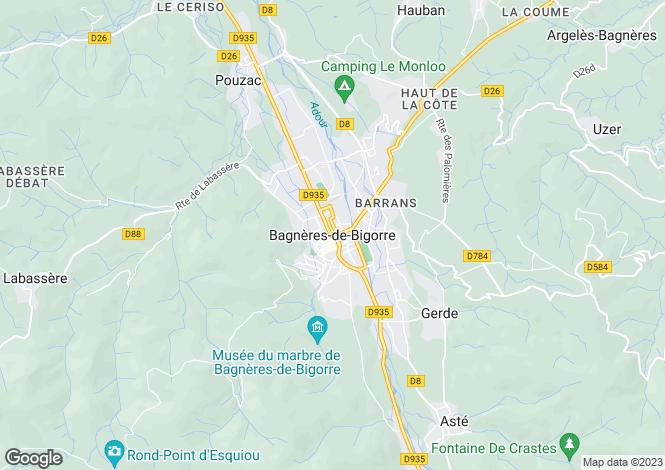 Map for Bagneres de Bigorre, Hautes Pyrenees