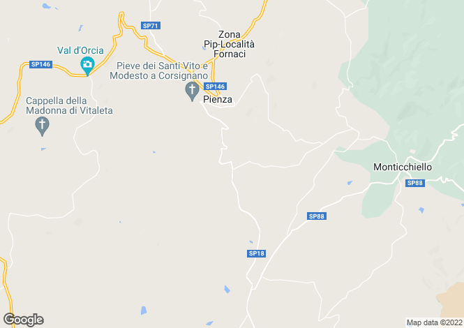Map for Pienza, Siena, Tuscany