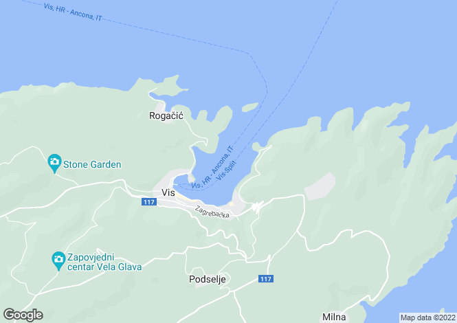 Map for Split-Dalmatia, Vis Island