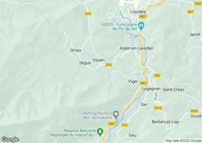 Map for Midi-Pyrénées, Hautes-Pyrénées, Ossen