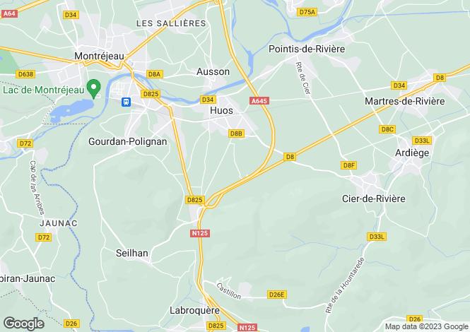 Map for huos, Haute-Garonne, France