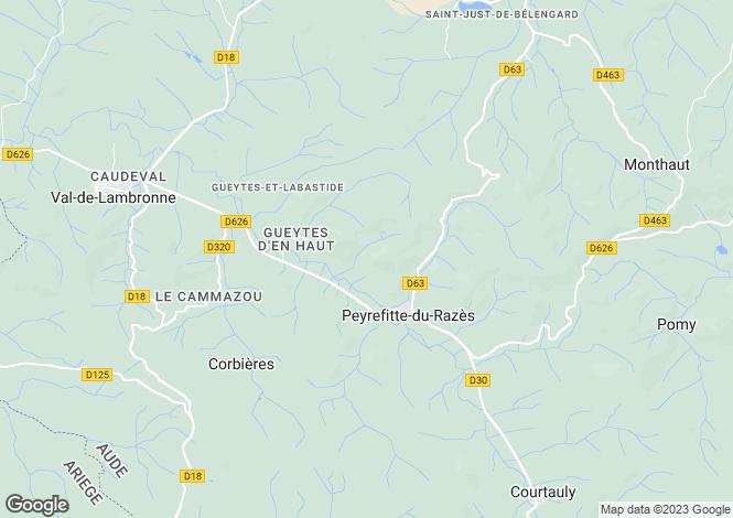 Map for Languedoc-Roussillon, Aude, Peyrefitte-du-Razès