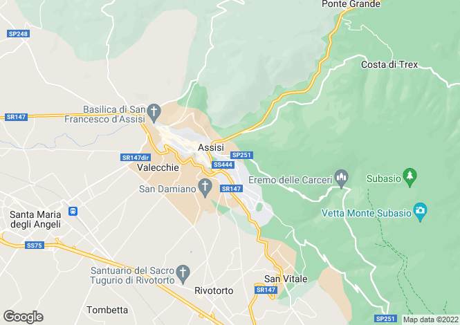 Map for Umbria, Perugia, Assisi