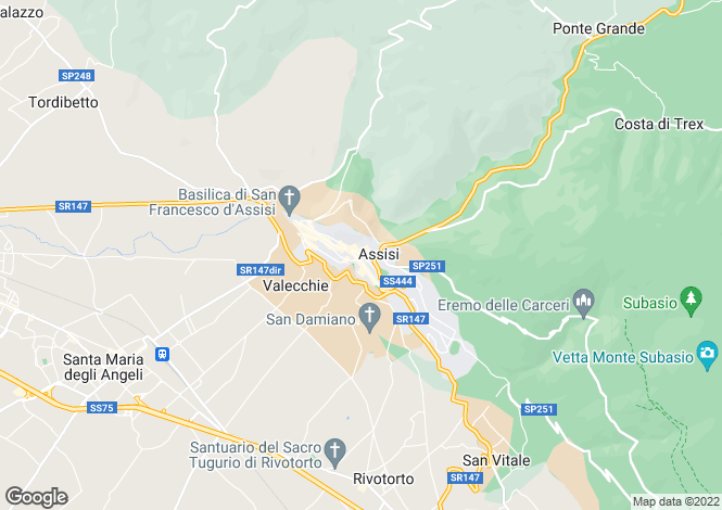 Map for Italy - Umbria, Perugia, Assisi