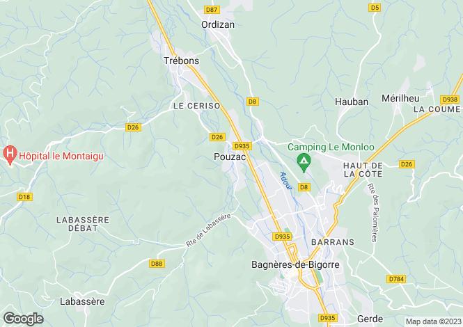 Map for pouzac, Hautes-Pyrénées, France