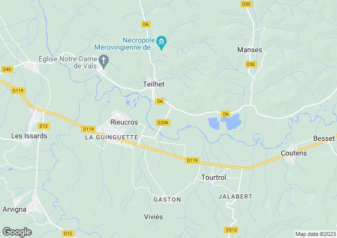 Map for Midi-Pyrénées, Ariège, Teilhet
