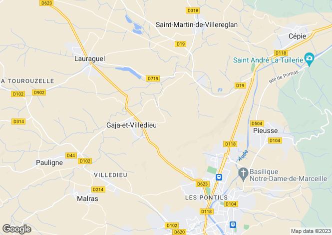 Map for Gaja-et-Villedieu, Aude, Languedoc-Roussillon