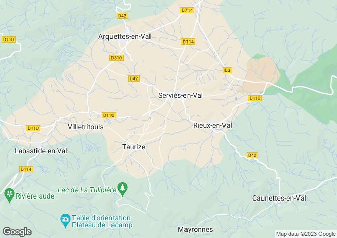 Map for Languedoc-Roussillon, Aude, Serviès-en-Val