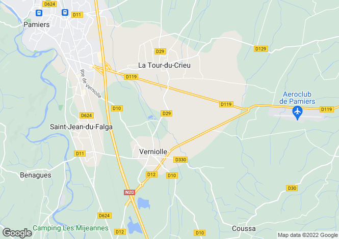 Map for verniolle, Ariège, France