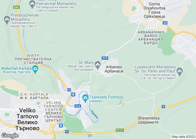 Map for Arbanasi, Veliko Tarnovo