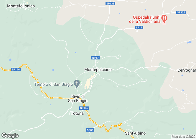 Map for Montepulciano, Tuscany, Italy