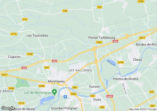Map for Midi-Pyrénées, Haute-Garonne, Ponlat-Taillebourg
