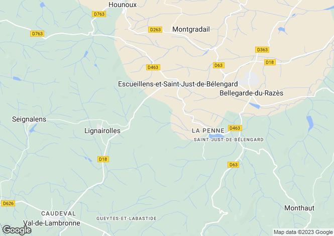 Map for Languedoc-Roussillon, Aude, Bellegarde-du-Razès