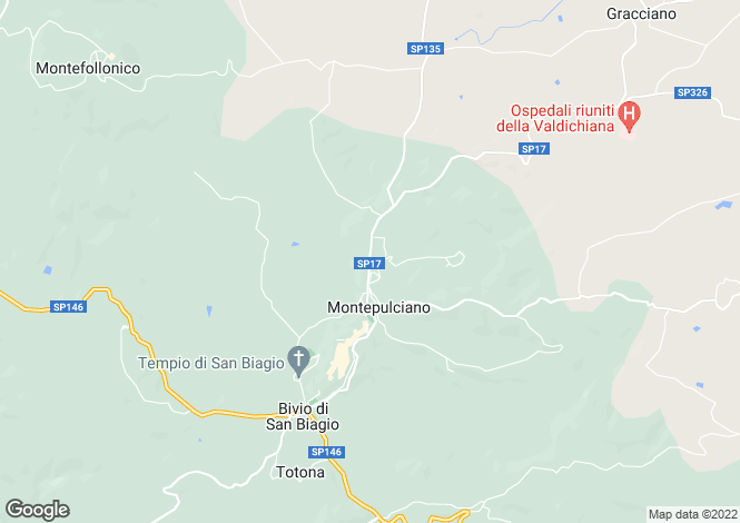 Map for SP17, Montepulciano, Tuscany