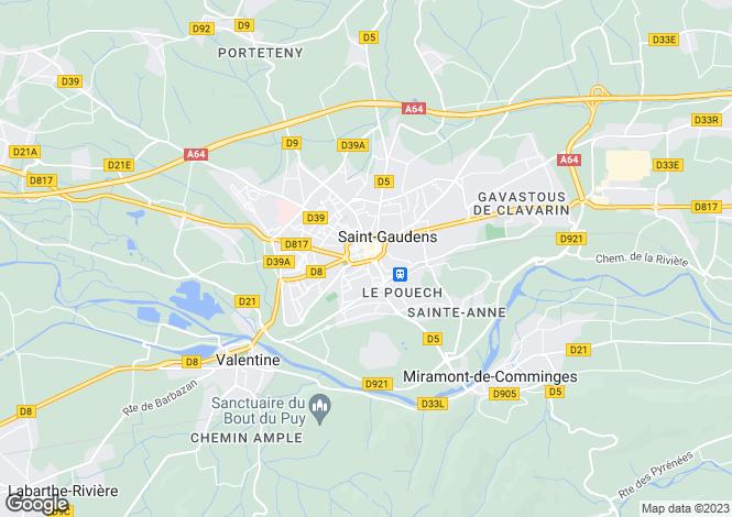 Map for Saint Gaudens, Hautes Pyrenees, Midi Pyrenees