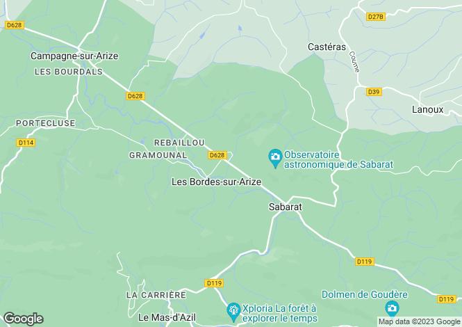 Map for Midi-Pyrénées, Ariège, Les Bordes-sur-Arize