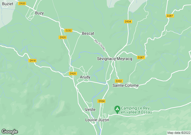 Map for arudy, Pyrénées-Atlantiques, France