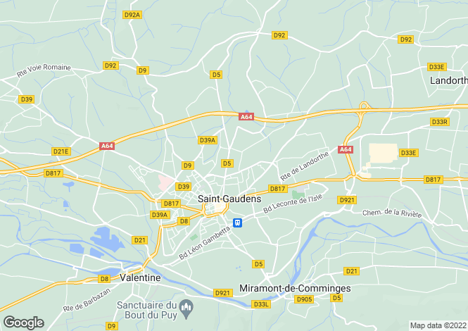 Map for Midi-Pyrénées, Haute-Garonne, St-Gaudens
