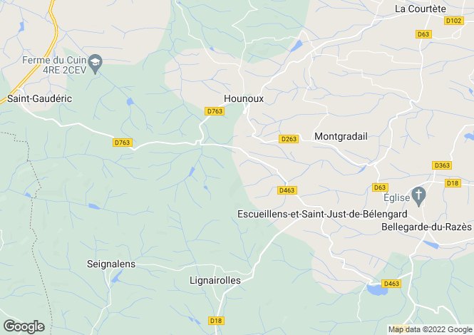Map for 11240 HOUNOUX, Aude, France