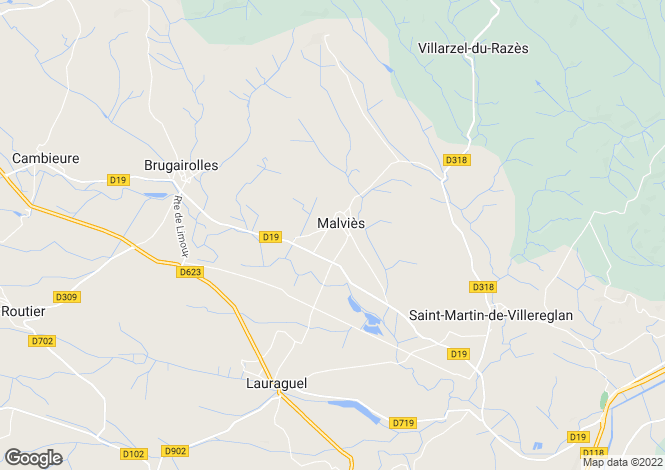 Map for malvies, Aude, France