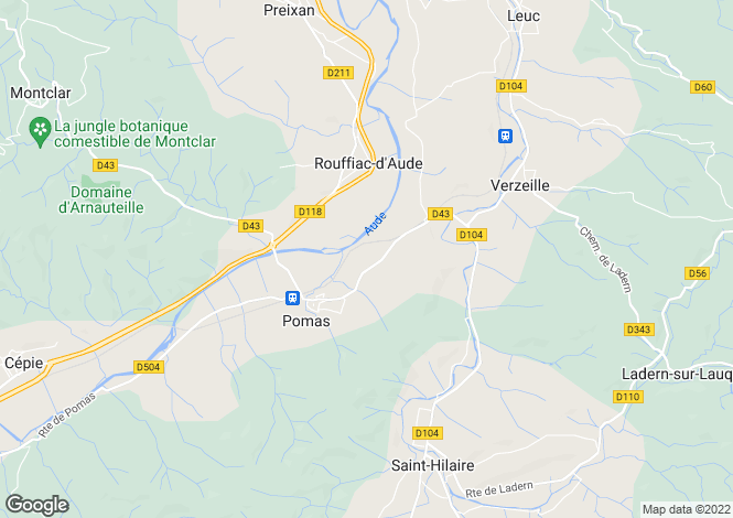 Map for pomas, Aude, France