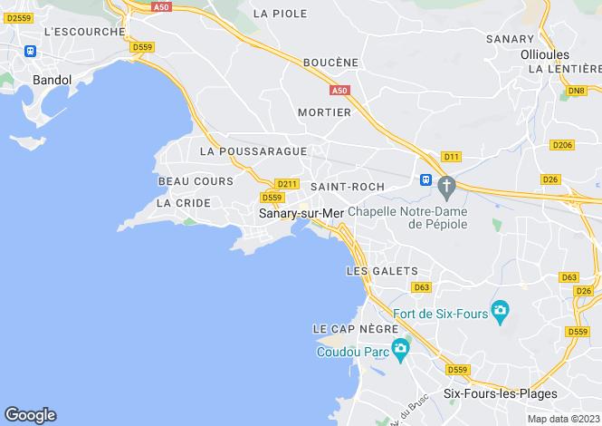 Map for Sanary-Sur-Mer, Var, 83110, France