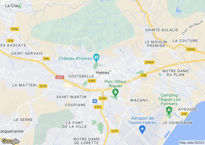 Map for Hyeres, Var, 83400, France