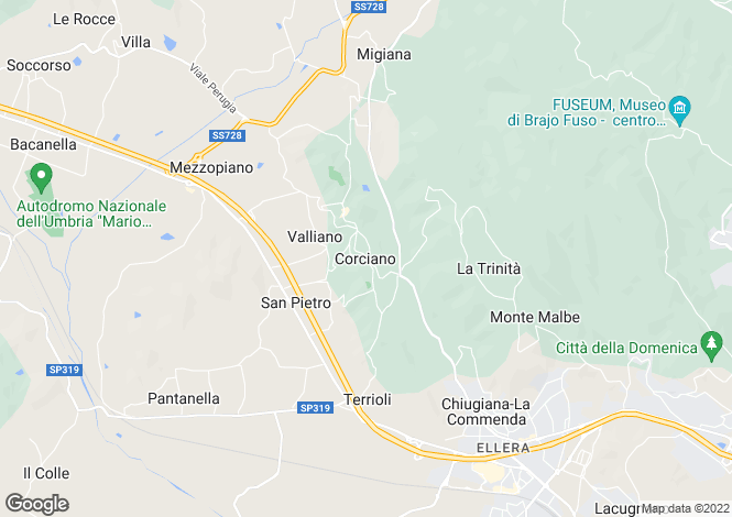 Map for Corciano, Umbria, Italy