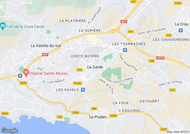 Map for La Garde, Var, 83130, France