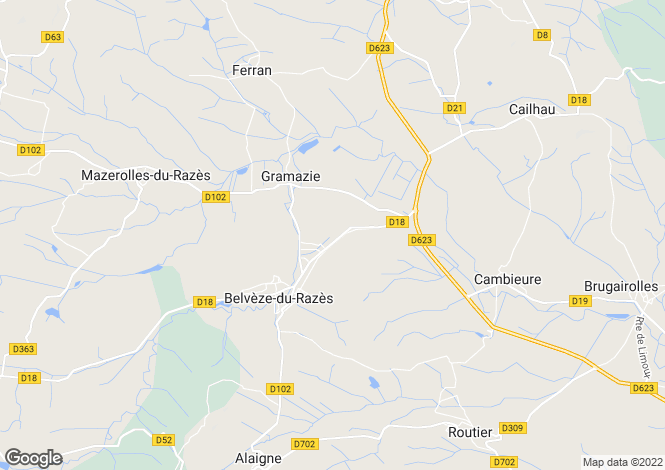 Map for Languedoc-Roussillon, Aude, Belvèze-du-Razès