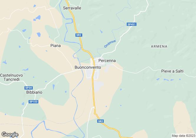 Map for Buonconvento, Tuscany, Italy