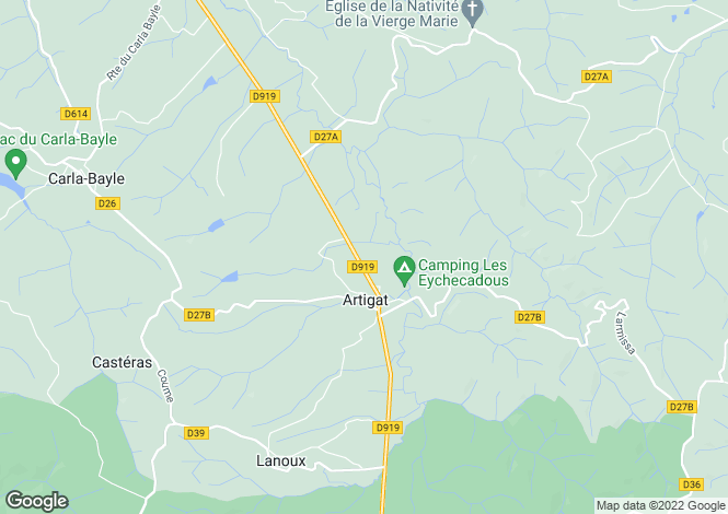 Map for Midi-Pyrénées, Ariège, Artigat
