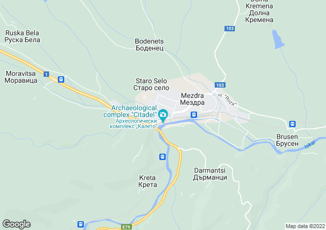 Map for Vratsa, Mezdra