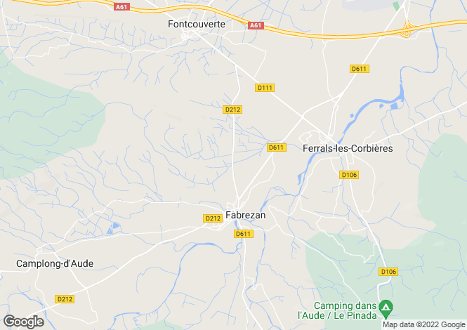 Map for fabrezan, Aude, France