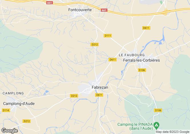 Map for Languedoc-Roussillon, Aude, Fabrezan