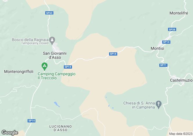 Map for Montalcino, Siena, Tuscany