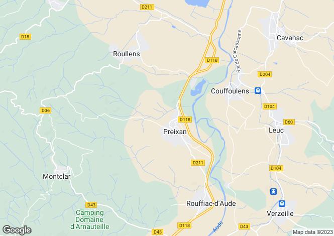 Map for Languedoc-Roussillon, Aude, Preixan