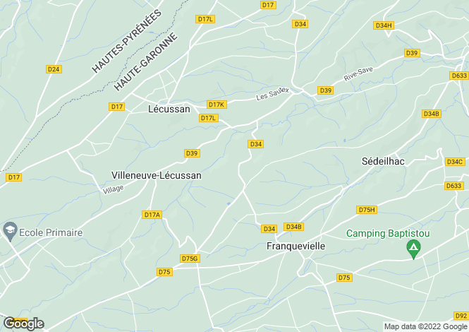 Map for Villeneuve-Lécussan, Haute-Garonne, Midi-Pyrénées
