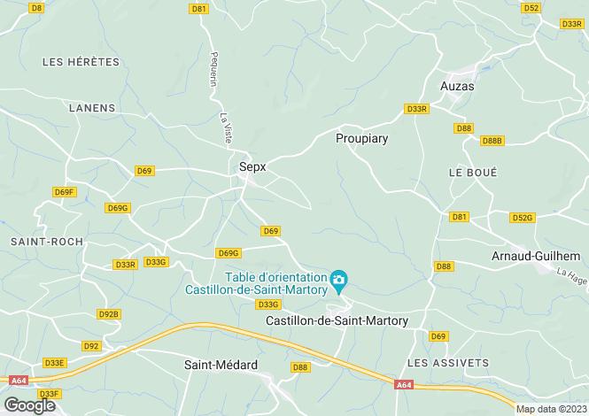 Map for Midi-Pyrénées, Haute-Garonne, Sepx