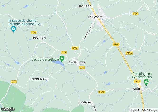 Map for Midi-Pyrénées, Ariège, Carla-Bayle