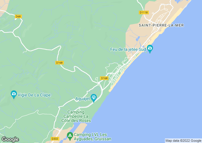 Map for Languedoc-Roussillon, Aude, Narbonne-Plage