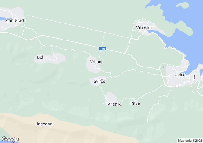 Map for Hvar Island, Split-Dalmatia