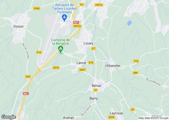 Map for Midi-Pyrénées, Hautes-Pyrénées, Lanne