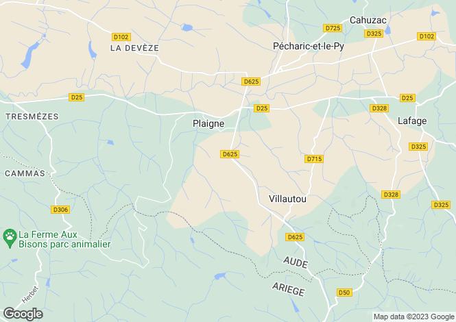Map for Languedoc-Roussillon, Aude, Plaigne
