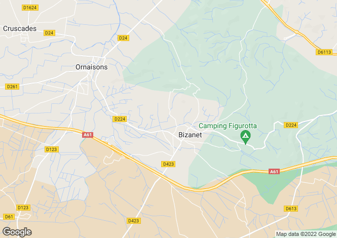 Map for bizanet, Aude, France